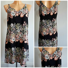 NEW Ex Store Ladies BLACK Floral Print Strappy Summer Dress Size 6 - 18