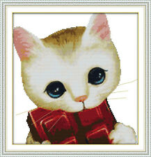 DIY Hand Embroidery Butterfly Cat Cross Stitch Kit 11CT Printed and Unprinted