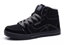 New Boys Black High Top Canvas Skate Tennis Shoes Sneakers Lace Up Youth Kids