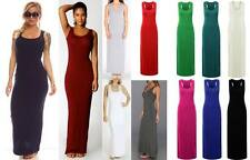 New Womens Ladies Jersey Racer Back Sleeveless Long Vest Maxi Dress 8-26 Plus1