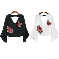 Embroidery V Neck Blouse Chiffon Casual Ruffle Summer Fashion Short Blouse