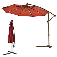 New Market Use LED Hanging Solar Umbrella Patio Sun Shade Offset w/Base Outdoor