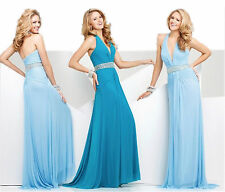 New Tony Bowls 115711 Sky Blue, Teal or Coral Halter Prom Pageant Formal Dress