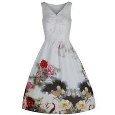 Ivory White Floral 50s Vintage Summer Party Cocktail Rockabilly Swing Dress