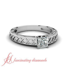 .75 Ct Princess Very Good Cut Diamond Solitaire Engagement Ring SI1-F Color GIA