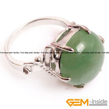 Natural 20mm Gemstone Round Ball Fashion Jewelry Silver Plated Finger Rings