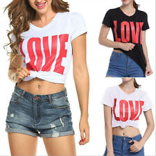 2Color *LOVE*Women Ladies Short Sleeve Casual Basic Summer T-shirt Tops Blouse
