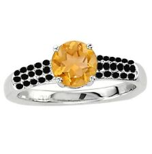 925 Sterling Pure Solid Silver Ring 6mm Natural Citrine Round Cut Gemstone Ring