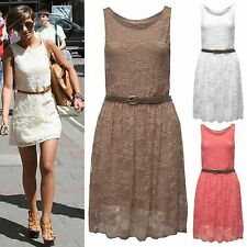 NEW LADIES FLORAL LACE SKATER DRESS WOMENS FLARED BELT SKIRT MINI FRANKI DRESSES