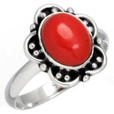 925 Sterling Silver Designer Jewelry Red Stone Gemstone Ring Size R 3/4 rr31685
