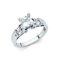 Diamond Engagement Ring 14k Solid White Gold 1.75 ct Square Princess Cut
