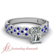 Round Blue Sapphire 0.75 Ct Radiant Cut Diamond Engagement Ring VS1-H Color GIA