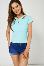 Women's Casual Light Blue Stretchy Top Ladies Blouse Short Sleeves Spring Summer