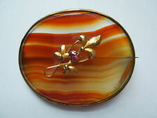 Large Victorian Agate Brooch, Scottish, 1880s, Unusual Applied Gold Decoration