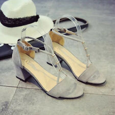 2017 Fashion Women Sandals Mid Chunky Block Heels Strappy Shoes Suede Open Toe