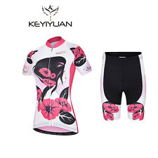 Women's Reflective Bicycle Clothes Kit Cycling Jersey and Padded Bike Shorts Set