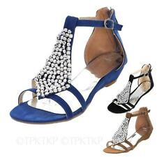 HANA Womens beaded Shoes Ladies Strappy Wedges Heels Flats Sandals Size 1-9