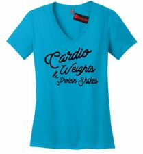 Cardio Weights Protein Shakes Ladies V-Neck T Shirt Workout Gym Fitness Tee Z5