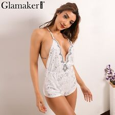 Sexy Deep V-Neck Sequin Jumpsuit Romper Summer Party Clubwear Backless Playsuit