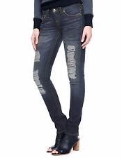 NWT True Religion Women's Hand Picked Skinny Jean Blue Moonshine 25 msrp $286