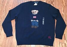 NWT Navy Blue Polo Ralph Lauren Teddy Bear USA Flag Sweater (XXL) ($265.00)