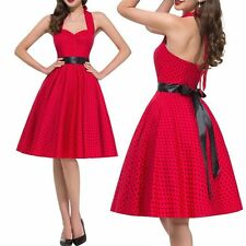 Women Vintage 50s 60s Polka Dots Tunic Swing Dress Halter Strappy Rockabilly Red