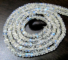 AAAA Natural White Rainbow Moonstone Faceted Beads, Size 3 to 5mm Length 14 inch