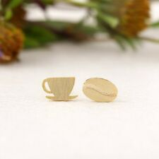 Silver Gold Rose Plated Coffee Bean & Cup Mug Earrings Studs in Gift Bag/Box