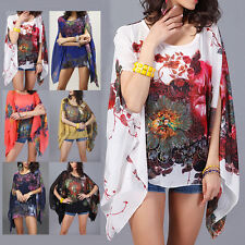 Womens Tops Blouse Chiffon Shirt Floral Casual Batwing Kimono Dress