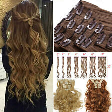 Brown Ombre Real Thick hair Long Clip in Hair Extensions Full Head Wavy Straight