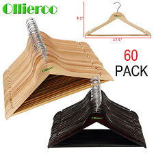 Ollieroo 60 Solid Wooden Wood Hangers Walnut Wood Clothes Coat Suit Dress Pant