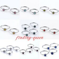 10x Punk Steel 22G Czech Crystal Flower Hoop Fake Nose Rings Studs No Piercing