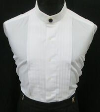 White Banded Nehru Mandarin Collar Pleated Front Tuxedo Shirt with Button Cover