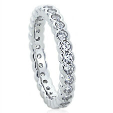 3MM Sterling Silver Wedding Ring Round CZ Flat Top Eternity Ring Wedding Band