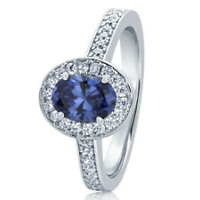 10.5MM Sterling Silver Oval 0.75ct Simulated Tanzanite Halo Cocktail Ring Band