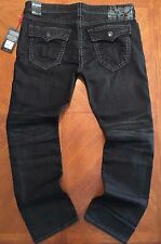 NWT $329.00 True Religion Mens Black Thick Stitch Ricky W/Flaps Super T Jeans