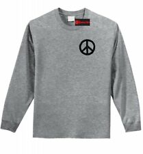 Peace Chest Print L/S T Shirt Peace & Love Tee Peace Symbol Hippie Gift Tee Z1