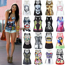 Women Print Tank Top Vest Cropped Tee Shirt Blouse Summer Party Camisole T-Shirt
