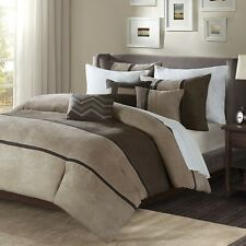 Fashionable 6pc Tan Taupe & Brown Microsuede Duvet Cover Bedding Set LotA