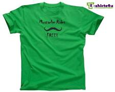 MUSTACHE RIDES FREE Funny Stache Sex Dirty Party Tee - T-Shirt - NEW - Green