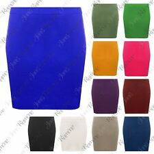 New Womens Plain Bodycon Stretch Ponte Micro Elasticated Pencil Short Mini Skirt