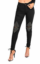 LADIES GIRLS NEW STUD DETAIL RIPPED KNEE HIGH WAIST SKINNY FIT BLACK CUT JEANS