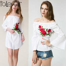 Women Summer Button Down Shirt Dress Floral Embroidery Casual Party Dress Blouse