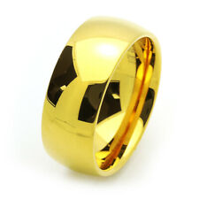 9MM Comfort Fit Tungsten Carbide Wedding Band Gold Tone Ring / Free Gift Box