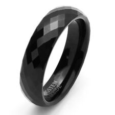 Men 6MM Comfort Fit Tungsten Carbide Wedding Band Faceted Domed Black Ring