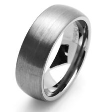 Men 8MM Tungsten Carbide Wedding Band Brushed Domed Ring / Free Gift Box