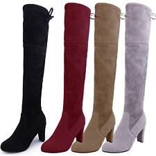 Casual Thigh Length Winter Womens Over Knee Boots UK sz 1 2 3 4 5 6 7 8