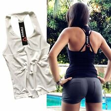 ATHMILE Women Yoga Sports Vest Gym Exercise Fitness Tank Tops Loose Singlet Tops