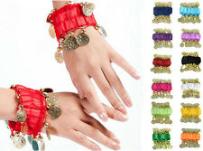 NEW BELLY DANCE WRIST ANKLE CUFF ARM BRACELET DANCING GOLD COINS