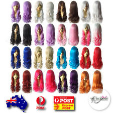 Womens 80cm Long Wavy Curly Wig Cosplay Costumes Fancy Dress Party Pink Blue..